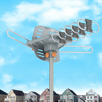 Leadzm 4K 200mile 1080P Outdoor Amplified TV Antenna Digital HD TV 360°UHF/VHF