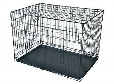 """48"""" Black 2 Door Pet Cage Folding Dog w/Divider Cat Crate Cage Kennel w/Tray DC"""