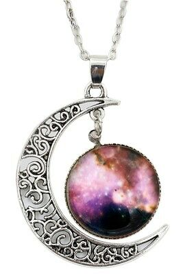 Women Galactic Glass Cabochon Pendant Crescent Moon Necklace(Color numbers: A6N9