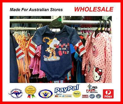 AUS WHOLESALE BABY KIDS CLOTHING 50PC Tigger Bodysuit Growsuit MYER RP $12.99