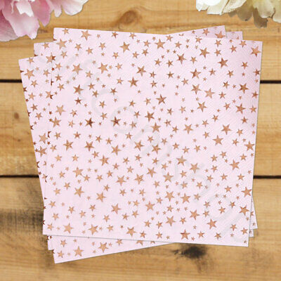 Pink & Rose Gold Party Paper Napkins Birthday Hen Party Disposable Tableware x16
