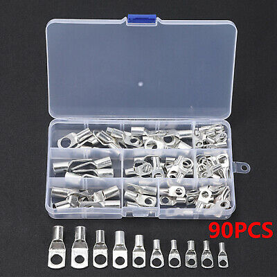 90PC Copper Tube Terminals Battery Cable  Welding Lug Ring Crimp Connectors UK