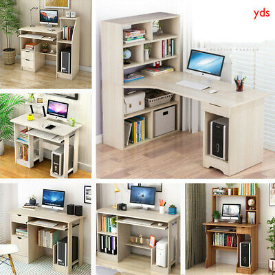 Corner Computer Desk Workstation PC Laptop Study Table With Shelve or Bookcase
