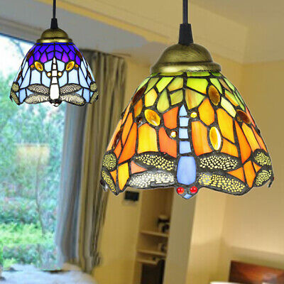 Antique Tiffany Style Pendant Light Stained Glass Shade Ceiling Light Fixture