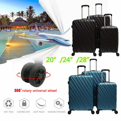 "Super Light ABS Hard Shell 3 PCS Travel Luggage Set Hardside Spinner 20"" 24"" 28"""