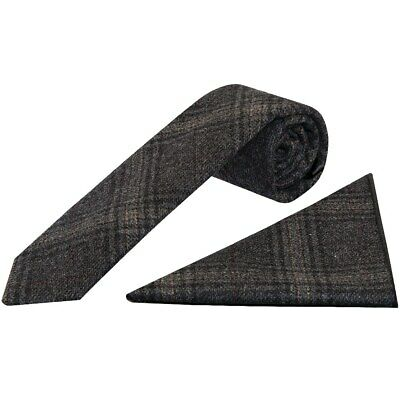 Dark Grey Check Tweed Skinny Boys Tie and Pocket Square Set Slim Tie Thin Short