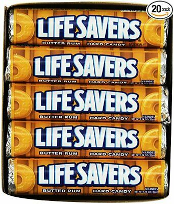 NEW Life Savers Butter Rum Hard Candy 1.14 Ounces 20 Single Packs Rolls Grocery
