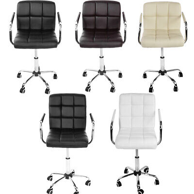 Cushioned Computer Desk Office Arm Chair Chrome Legs Lift Swivel Adjustable