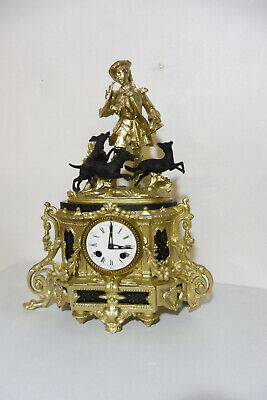 Antique Bronze Table Clock Shelf Mantel Old Clock French Clock Marble