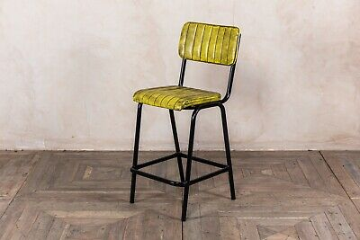 Yellow Upholstered Bar Stool In Vintage Style Faux Leather 66Cm Leather Look