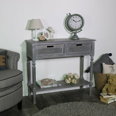 Vintage grey washed living console table storage unit hallway living room french