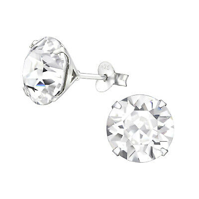 925 Sterling Silver Crystal Cubic Zirconia Circle Stud Earrings (Design 3)