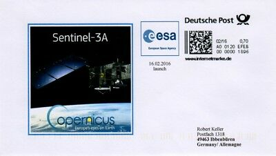 Space Internetmarke DP, Postkodierung, Sentinel-3A launch, esa 2016