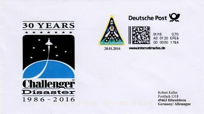Space Internetmarke DP, Postkodierung, 30 Years Challenger Disaster 2016