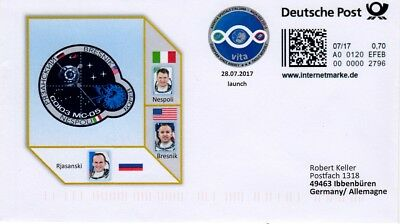 Space Internetmarke DP, Postkodierung, Sojus MS-05 launch zur ISS 2017