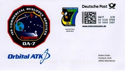 Space Internetmarke DP, Postkodierung, OA-7 Cygnus, launch zur ISS 2017