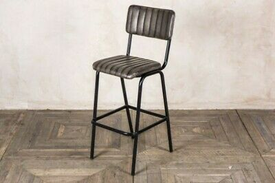 Grey Upholstered Bar Stool In Vintage Style Faux Leather 76Cm Leather Look Stool