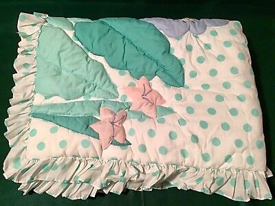 Vintage Cotton Tale Jungle Theme Giraffe Lion Quilt Polka Dot Baby Quilt Blanket