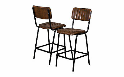 Pair Of Brown Upholstered Bar Stool In Vintage Style Faux Leather 66Cm Leather