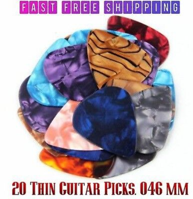 Lot of 20 Thin Guitar Picks. Nice Variety Of Assorted Colors. 0.46mm. USA Seller