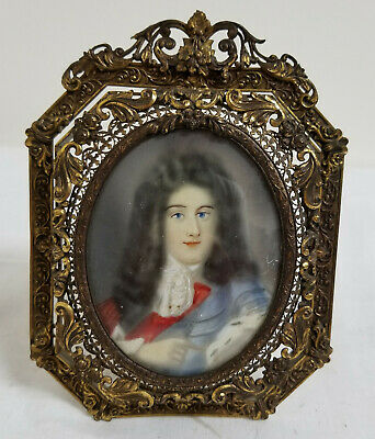 Antique French Miniature Painting Louis XIV Gilt Brass Bronze Ornate Frame
