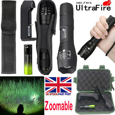 UltraFire 900000LM Zoom T6 LED Flashlight Torch +18650 Battery +Charger UK Stock
