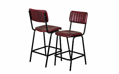 Pair Of Red Upholstered Bar Stool In Vintage Style Faux Leather 66Cm Leather