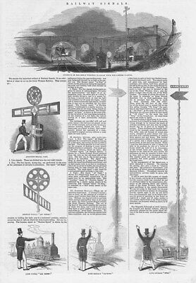 GWR Great Western Railway Signals in Victorian Times - Antique Print 1844
