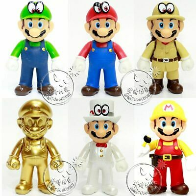 Super Mario Odyssey Golden Repairman Mario Luigi Action Figure PVC Toy Model 5''