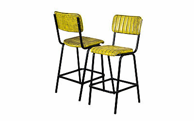 Pair Of Yellow Upholstered Bar Stool In Vintage Style Faux Leather 66Cm Leather
