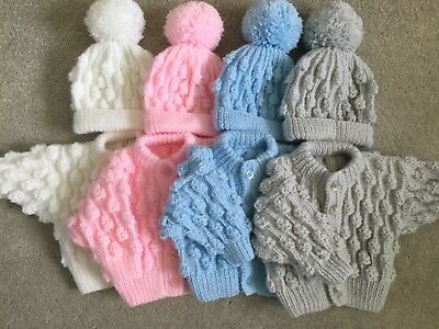 HAND MADE TO ORDER, Boys/Girls Hand Knitted Bobble Cardigan And Hat Set