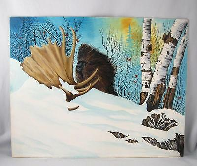 Porcupine W/ Moose Drop Antler Winter Scene Naive Painting Folk Art   16X20