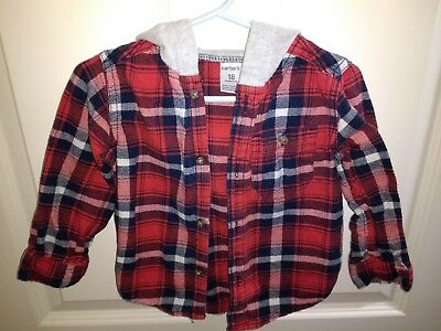 333c5e99 Carters Boys Plaid Long Sleeved hooded Shirt Top Red Navy Blue White 24  Months