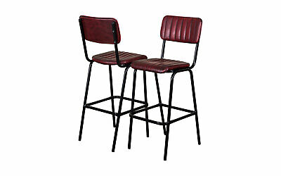 Pair Of Red Upholstered Bar Stool In Vintage Style Faux Leather 76Cm Leather