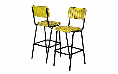 Pair Of Yellow Upholstered Bar Stool In Vintage Style Faux Leather 76Cm Leather