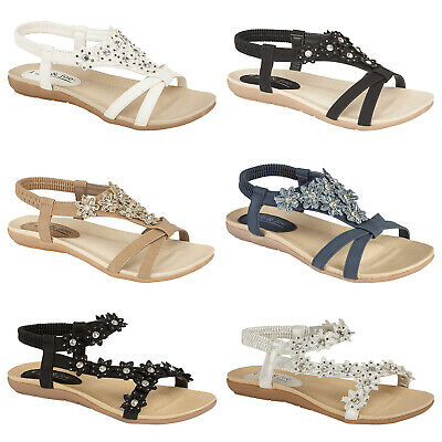 New Ladies Women Party Fashion Summer Holiday Beach Sandals Low Wedge Flat Shoes
