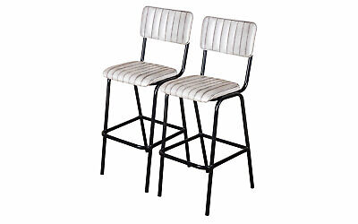 Pair Of White Upholstered Bar Stool In Vintage Style Faux Leather 76Cm Leather