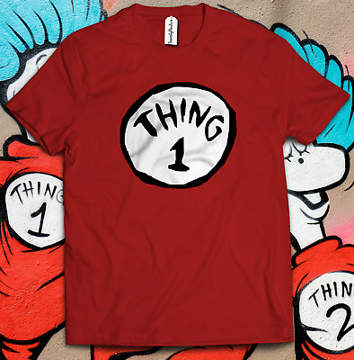 Thing 1 Thing 2 T-Shirt Fancy Dress World Book Day Kids Adults Present Gift