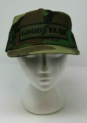 bedcb9e0cf5 Swingster Goodyear Camo Mesh Snapback Trucker Hat Patch Made In USA Vintage