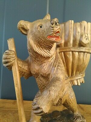 Black Forest / Swiss Brienz  hand carved wooden bear with basket