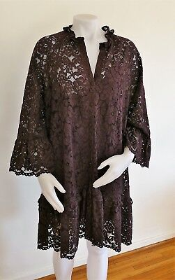 5811ee51b4265 H&M Short Flounce Burgundy Wide Cut Lace Button Dress with Liner size Large
