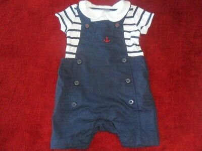 Mothercare Boys Dungaree Polo Top Outfit Grey White Navy Worn Once Baby & Toddler Clothing Boys' Clothing (newborn-5t)