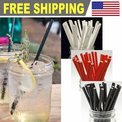 FDA Approved 200//400//1000//5000 Paper Straws Bulk Packed 8 Stripe Colors Mixed
