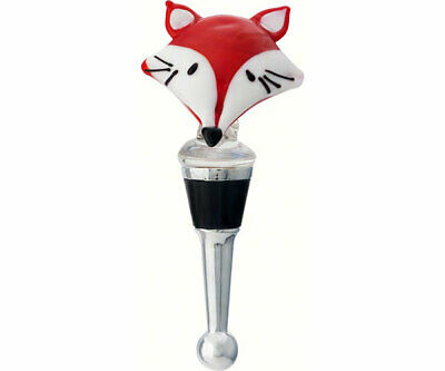 COLLECTIBLE BLOWN GLASS CREATURES  BOTTLE STOPPER - Red Fox Face  - BS460