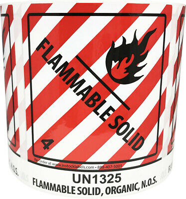 UN1325 Class 4 Flammable Solid Stickers, 4 x 4.75 Inches, 500 Total Labels