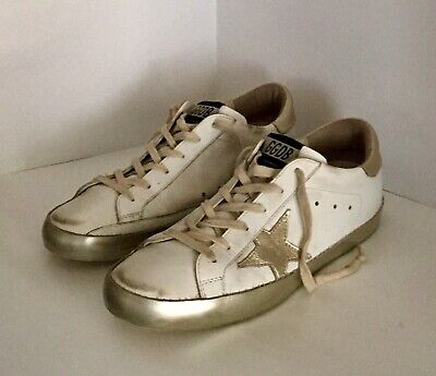 37968c1f4 Golden Goose Superstar White Leather Gold Star Sneakers Women's Sz 40 / Us  Sz 9M