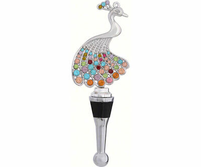 COLLECTIBLE BLOWN GLASS CREATURES  BOTTLE STOPPER - Peacock with Stones - BS475