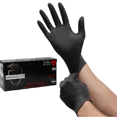 100 Shield™ Nitrile 5mil Powder Free Gloves Black (Latex Vinyl Free) 2XL
