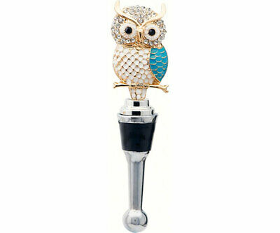 COLLECTIBLE BLOWN GLASS CREATURES  BOTTLE STOPPER - Owl with Stones  BS478