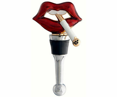 COLLECTIBLE BLOWN GLASS CREATURES  BOTTLE STOPPER - Lips w/Cigarette   BS498